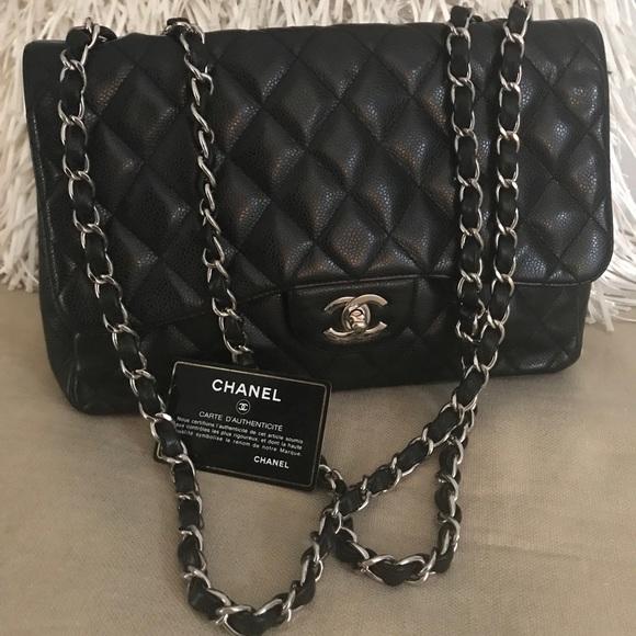 69dcebe2e17 CHANEL Handbags - CHANEL Classic SINGLE Flap Bag Black Caviar Jumbo